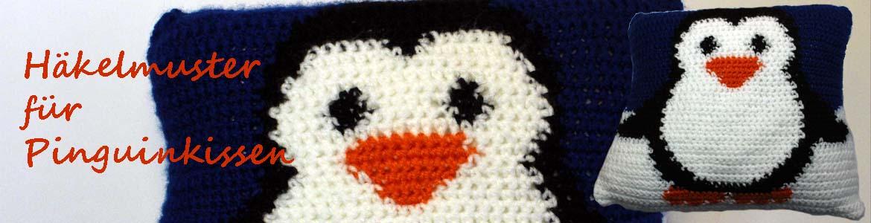 Kostenloses Häkelmuster für ein Kissen mit Pinguin-Motiv | kreativbunt