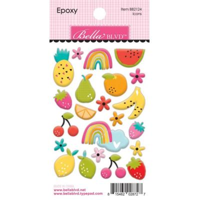 Bella Blvd Squeeze The Day Epoxy Sticker - Fruits Icons