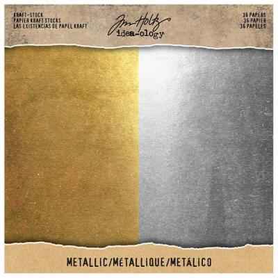 Idea-ology Tim Holtz Cardstock - Metallic Gold Silber