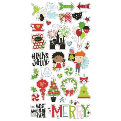 Simple Stories Say Chipboard Stickers - Cheese Christmas