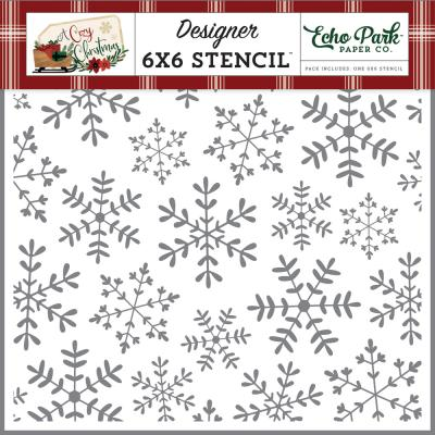 Echo Park A Cozy Christmas Stencil - Cheerful Snowflakes