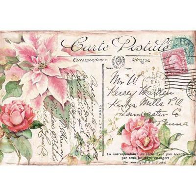 Stamperia Rice Paper - Poinsettia Pink