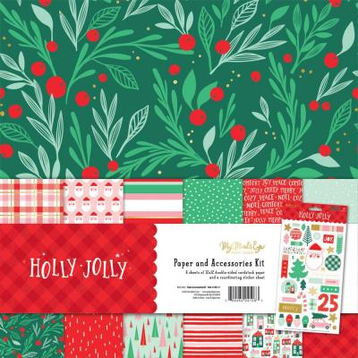 My Mind's Eye Holly Jolly Paper & Accessories Kit Designpapier - Holly Jolly