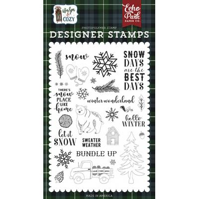 Echo Park Warm & Cozy Clear Stamps - Snow Days