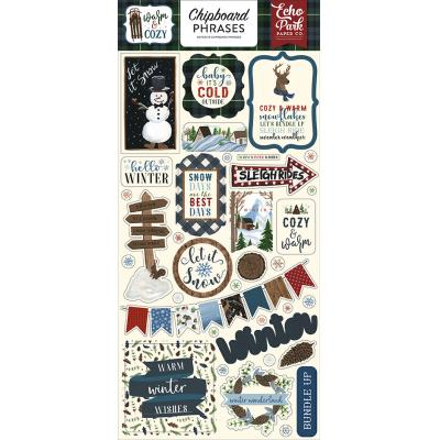 Echo Park Warm & Cozy Die Cuts - Chipboard Phrases
