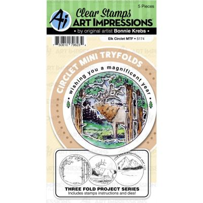 Art Impressions Clear Stamps and Die - Elk Circlet MTF