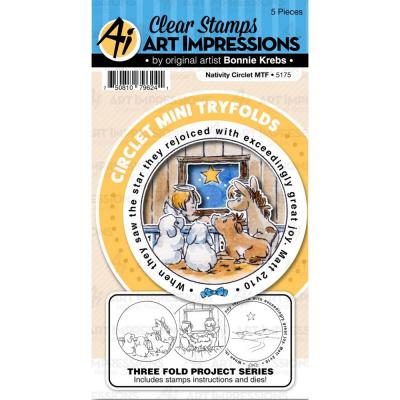 Art Impressions Clear Stamps and Die - Nativity Circlet MTF