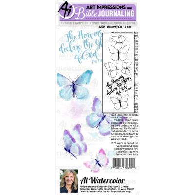 Art Impressions Watercolor Rubber Stamps - Butterfly