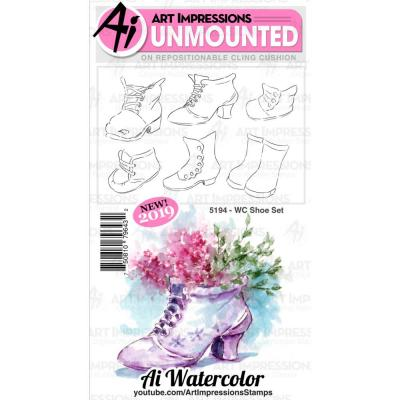 Art Impressions Watercolor Cling Rubber Stamps - WC Shoe