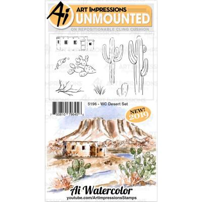 Art Impressions Watercolor Clings Stamps - WC Desert