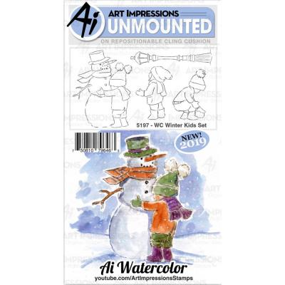 Art Impressions Watercolor Clings Stamps - WC Winter Kids