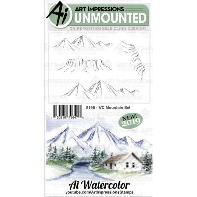 Art Impressions Watercolor Clings Stamps - WC Mountain