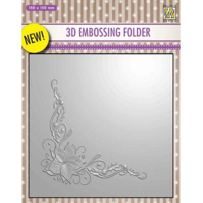 Nellies Choice 3D Embossingfolder - Poinsetta-Ecke