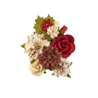 Prima Marketing Mulberry Paper Flowers Embellishments  Christmas In The Country - Christmas Song