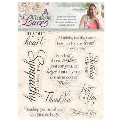 Crafter's Companion  Sara Signature Clear Stamps Vintage Lace - Heartfelt Sentiments