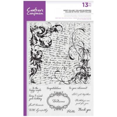 Crafter's Companion Clear Stamps - Script Collage Background