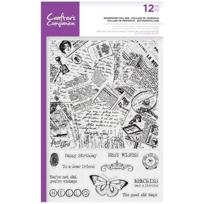 Crafter's Companion Clear Stamps - Newspaper Collage Background