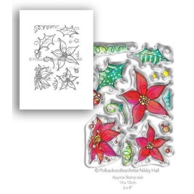 Polkadoodles Clear Stamps - Perfect Poinsettias