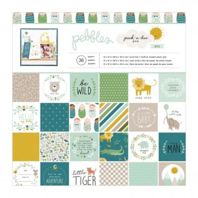 American Crafts Pebbles Designpapier - Peek-a-boo  Boy