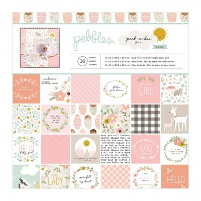American Crafts Pebbles Designpapier - Peek-a-boo Girl