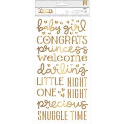 Pebbles Night Night Stickers - Thickers Girl Gold Foil