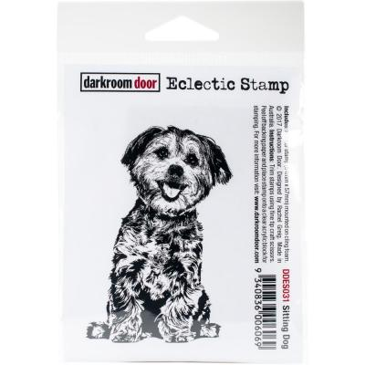 Darkroom Door Rubber Stamp - Sitting Dog