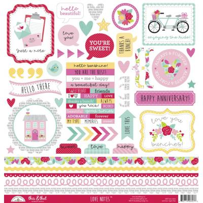 Doodlebug Love Notes - This & That Cardstock Sticker