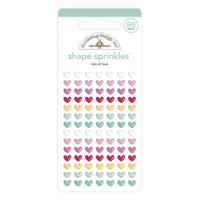 Doodlebug Love Notes Shape Sprinkles Embellishments - Lots Of Love