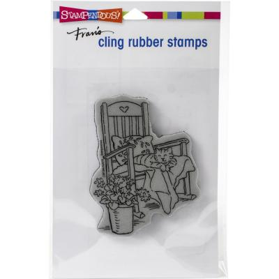 Stampendous Cling Stamp - Cat In Rocker