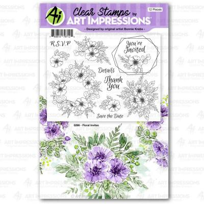Art Impressions Florals Clear Stamps - Floral Invites