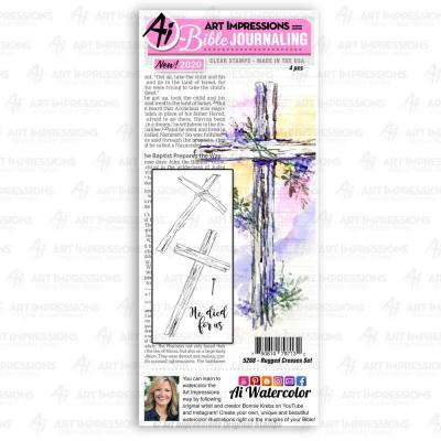 Art Impressions Bible Journaling Clear Stamps - Rugged Crosses