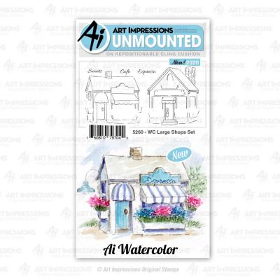 Art Impressions Watercolor Cling Stamps - Large Shops