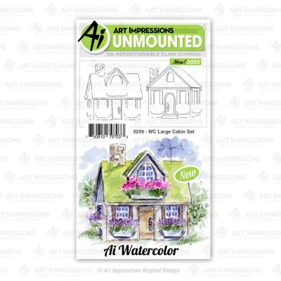 Art Impressions Watercolor Cling Stamps - Large Cabin