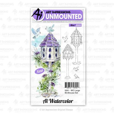 Art Impressions Watercolor Cling Rubber Stamps - Large Birdhouse