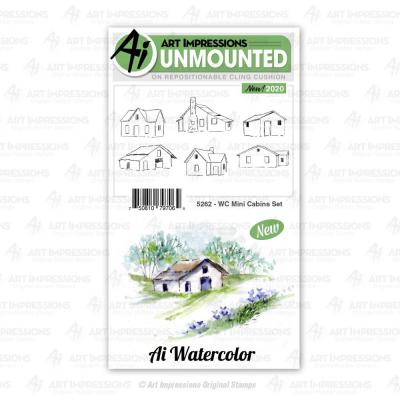 Art Impressions Watercolor Cling Stamps - Mini Cabins