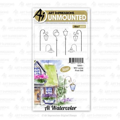 Art Impressions Watercolor Cling Stamps - Lamp Post