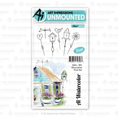 Art Impressions Watercolor Cling Stamps - Decorative Post
