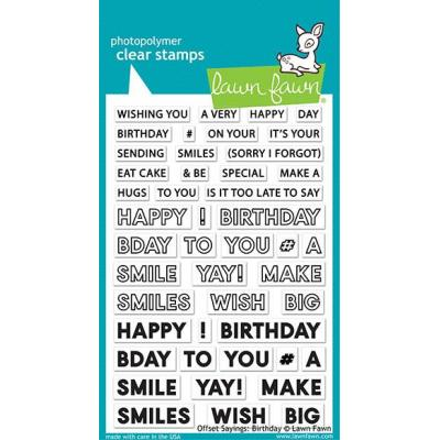 Lawn Fawn Clear Stamps - Offset Sayings Birthday