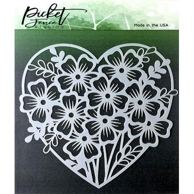 Picket Fence Studios Stencil - Heart of Flowers