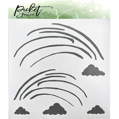 Picket Fence Studios Stencil - Funky Rainbow