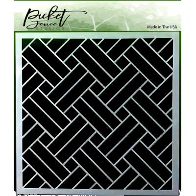 Picket Fence Studios Stencil -  Basket Weave