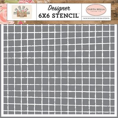 Carta Bella Farmhouse Market Stencil - Vintage Grid