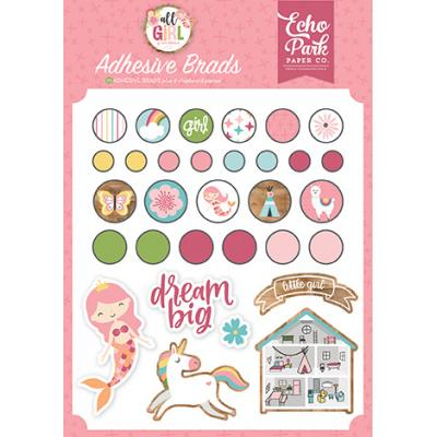 Echo Park All Girl Embellishments - Adhesive Brads