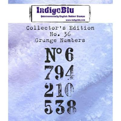 IndigoBlu Collector's No. 36 Rubber Stamps - Grunge Numbers