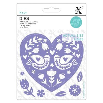 XCut Small Dies - Folk Bird Hearts