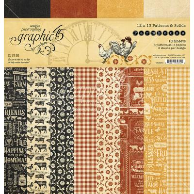 Graphic 45 Farmhouse Designpapier - Patterns & Solid Paper Pad