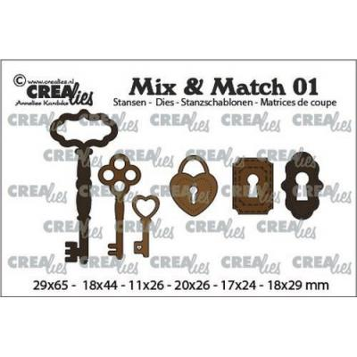 Crealies Mix & Match Dies - Keys, Key Lock, Padlock CLMix01