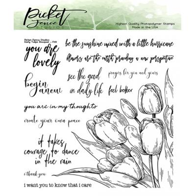 Picket Fence Studios Clear Stamps - Early Tulip Bouquet