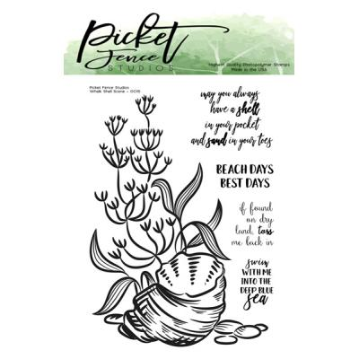 Picket Fence Studios Clear Stamps - Whelk Shell Scene