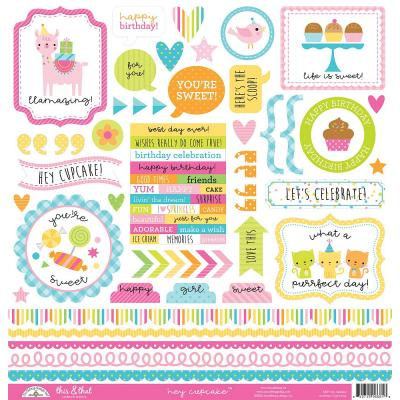 Doodlebug Hey Cupcake - This & That Cardstock Sticker